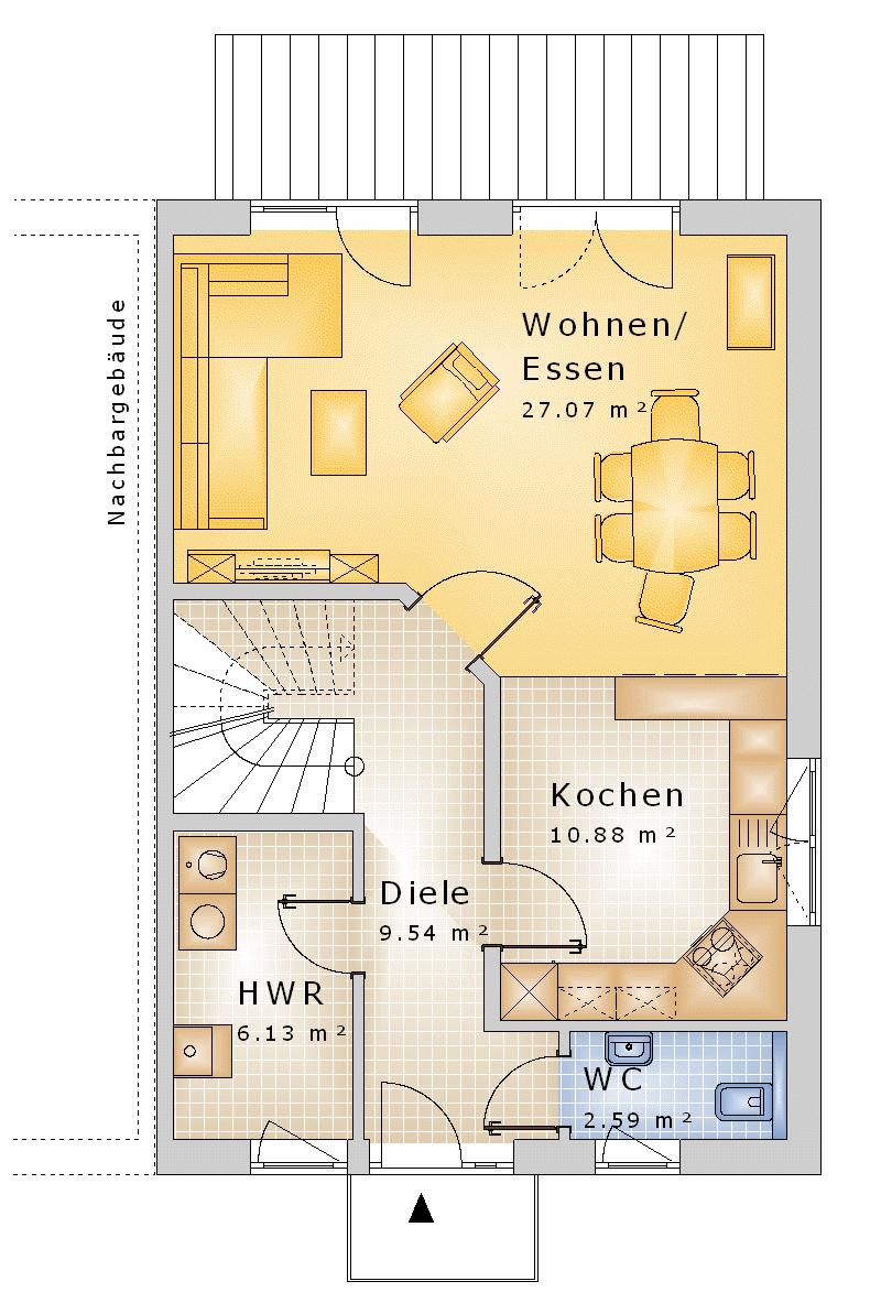 grundriss bungalow 4 zimmer offene k che aus alt mach neu. Black Bedroom Furniture Sets. Home Design Ideas